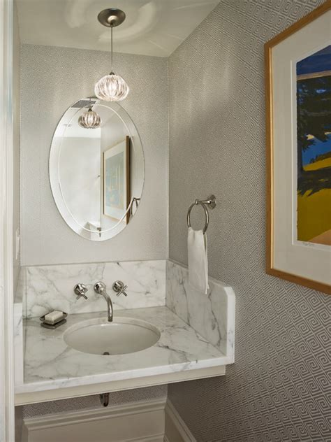 gray greek key wallpaper contemporary bathroom