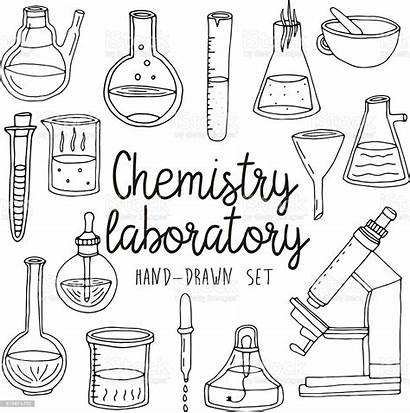 Chemistry Laboratory Equipments Drawn Drawing Doodle Dibujos