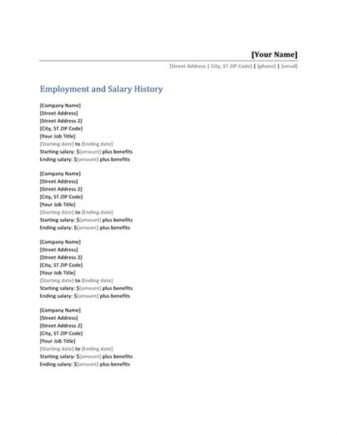 employment history resume template employment and salary history list office templates