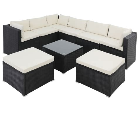 casaria poly rattan garden furniture sofa set lounge