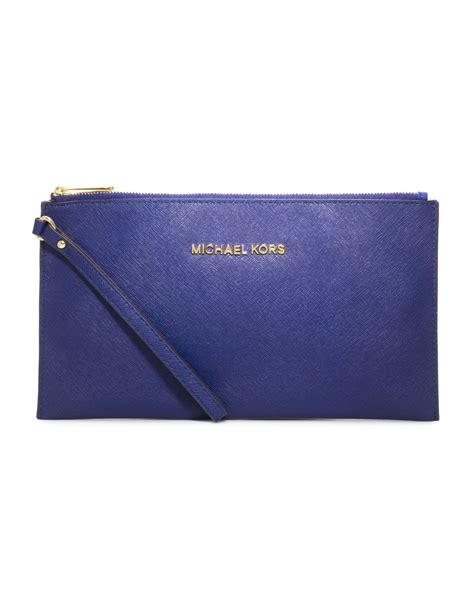 lyst michael kors large jet set travel zip clutch  blue