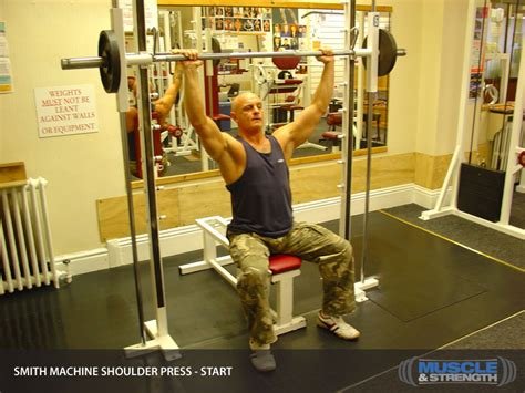 smith machine shoulder press video exercise guide tips
