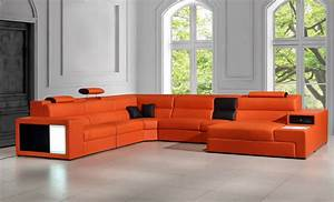 Divani casa polaris contemporary leather sectional sofa for Contemporary orange sectional sofa