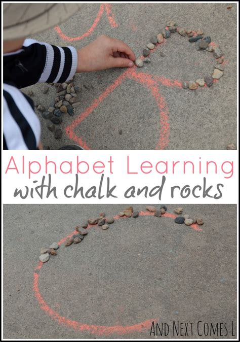 alphabet learning  chalk rocks