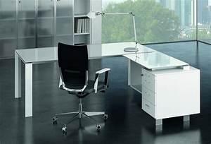 Bureau Angle Verre : bureau d 39 angle en verre design retour caisson bois x7 c12 gd office ~ Teatrodelosmanantiales.com Idées de Décoration