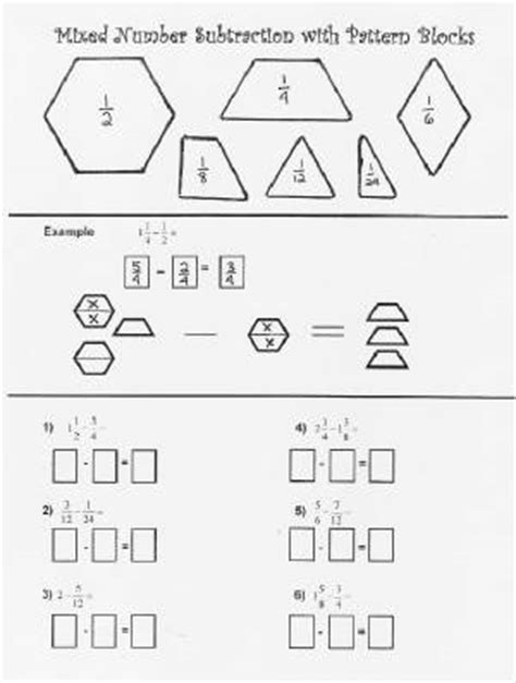 mixed number subtraction with pattern blocks worksheet
