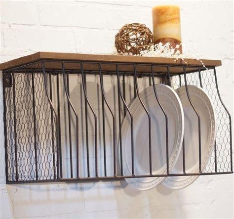 metal wall mounted plate rack  wood top