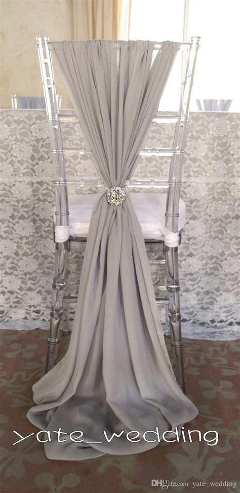 2015 cheap wedding chair sashes silver chiffon 1 5m length