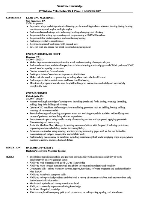 Machinist Resume by Cnc Machinist Resume Sles Velvet