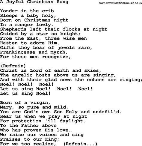 Catholic Hymns, Song A Joyful Christmas Song  Lyrics And Pdf
