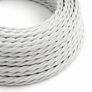 White Cotton Covered Twisted Electric Cable 2x18 Awg