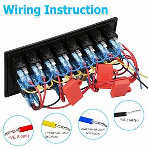 8 Gang Led Rocker Switch Control Panel Circuit Charger 12v
