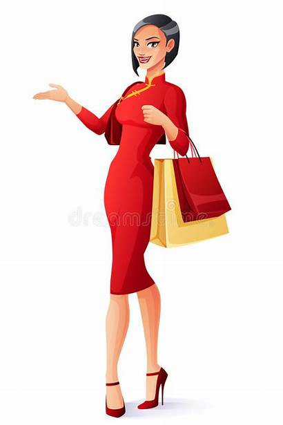 Chinese Lady Asian Bags Shopping Cartoon Signora