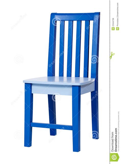 blue wooden chair isolated white stock photo image