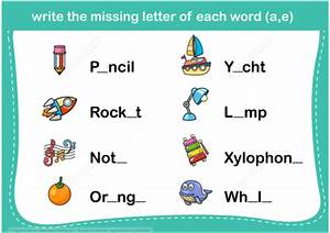 write the missing letter of each word copy free With missing letter word games