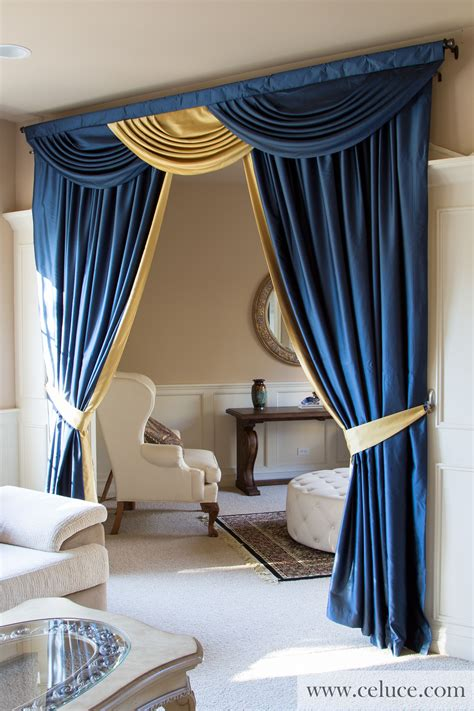 Blue Swag Curtains by Blue And Gold Classic Overlapping Swag Valance Curtains