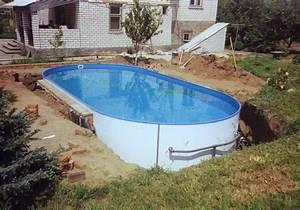 ovaler swimmingpool mit stahlwanden im garten eingegraben With französischer balkon mit ovaler pool garten
