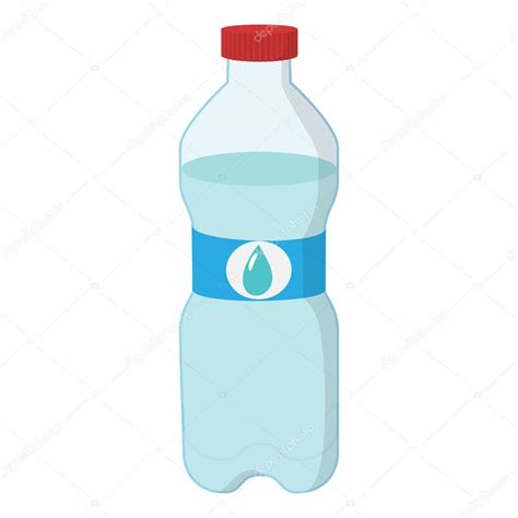 Botella de plástico de icono de dibujos animados de agua Vector de