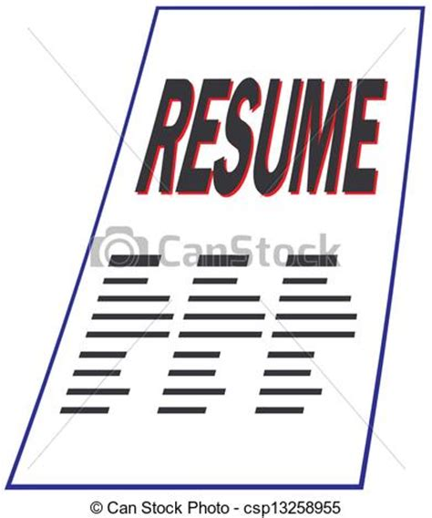 clipart vector of resume csp13258955 search clip