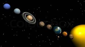 All Planets Of The Solar System In The Night Stock Photo