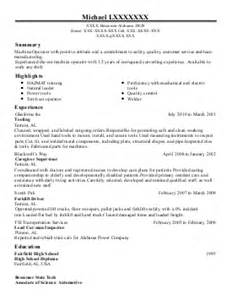 tool and die machinist resume sle 1 tool and die makers resume exles in bessemer al