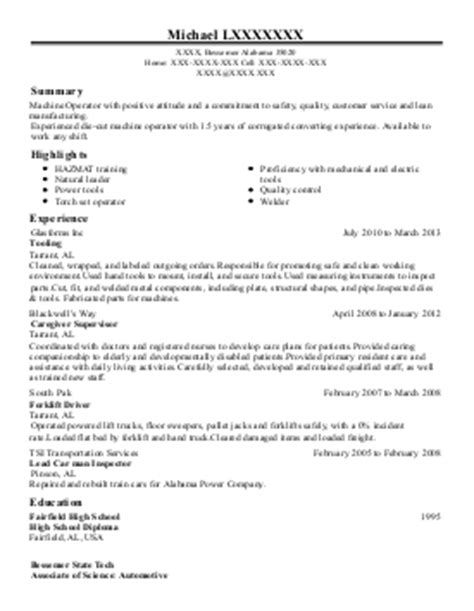 Tool And Die Maker Resume Format by 1 Tool And Die Makers Resume Exles In Bessemer Al