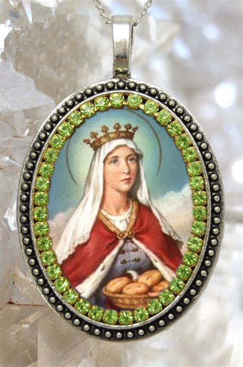 saint elizabeth  hungary locket necklace catholic
