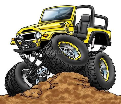 jeep cartoon offroad toyota fj40 off road cartoon tshirt 0572 ga 4x4 car auto