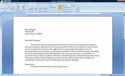 Merge Mail Letter Sample Project Assignment Write