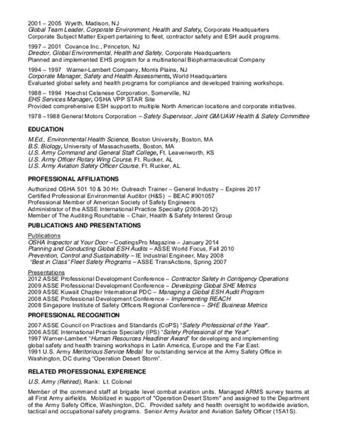 Environmental Health And Safety Resume Exles by Jjfearing Resume
