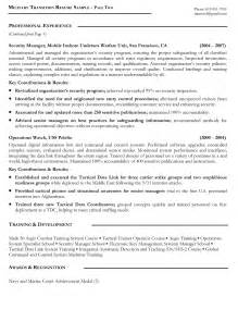 resume writing for veterans resume sles exles resume writers