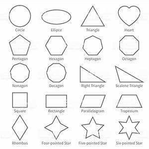 Basic Geometric Outline Flat Shapes Educational Geometry