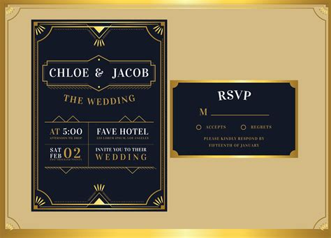 Black Gold Art Deco Wedding Invitation Template Vector
