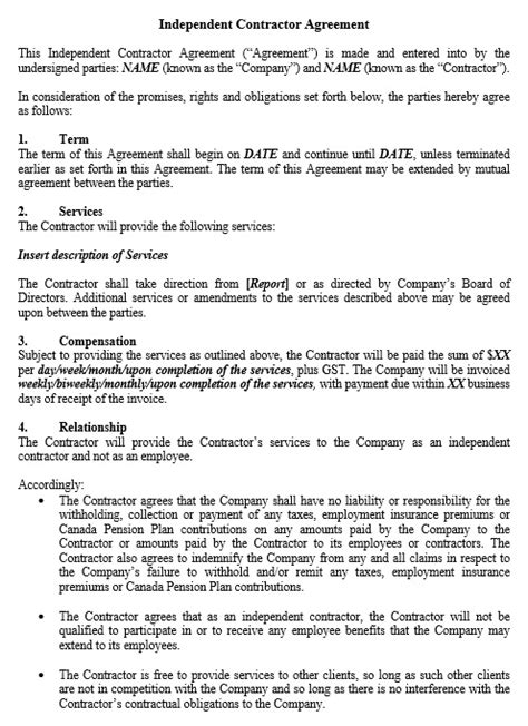Independent Contractor Agreement Template 10 Free Independent Contractor Agreement Templates