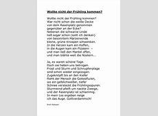 Wollte nicht der Frühling kommen? Gedicht v Erich Mühsam