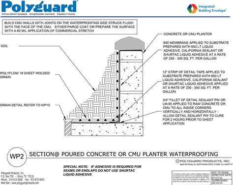 waterproofing concrete planters architectural details index