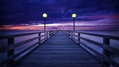 Noche Puente Fondos Paisajes Purple Pantalla Sunset