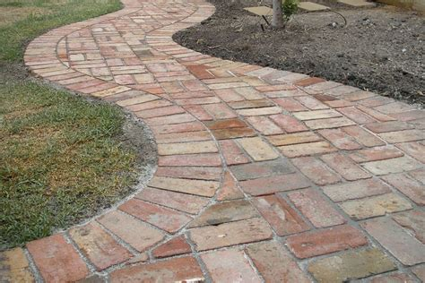 basket weave paving curved path offset with straight lines of basket weave brick paving craftsman bungalows