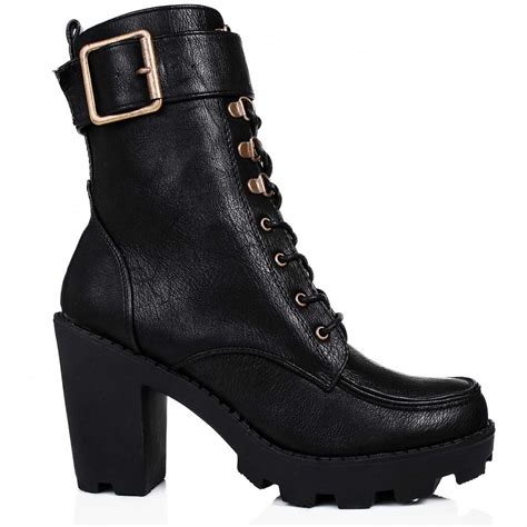 biker ankle boots buy ramble heeled platform biker ankle boots black leather