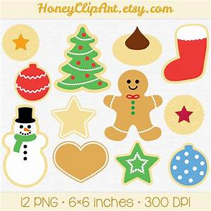 Christmas Cookie Clip Art with Gingerbread Man Snowman