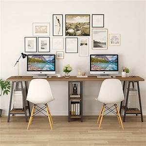 Tribesigns, 94, 5, Inches, Computer, Desk, Extra, Long, Two, Person, Desk, With, Storage, Shelf, Double