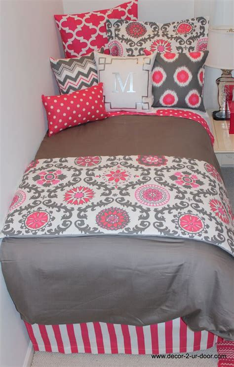 Pink + Grey Dorm Bedding  Dorm Room  Pinterest  Bed In