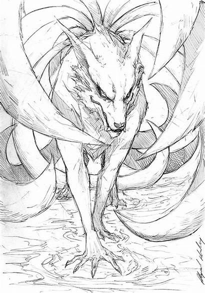 Nine Tails Drawing Kurama Getdrawings Sly Smile