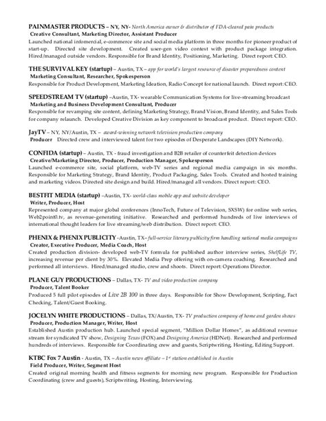 Tv Director Resume by Kimberlie Dykeman Career Resume Of Tv Host Spokesperson Producer