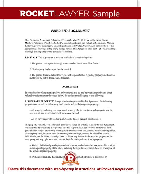 premarital agreement form  sample