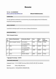 Resume Format For Biotechnology Freshers