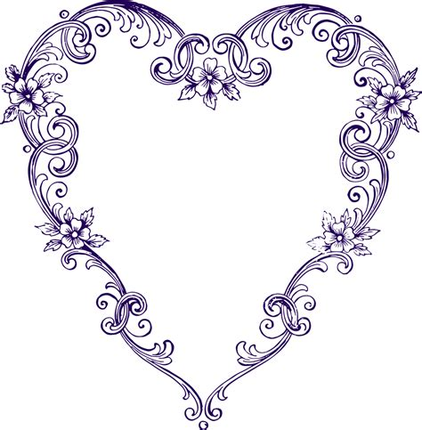 Free Images  Fancy Vintage Purple Heart Clip Art Clip