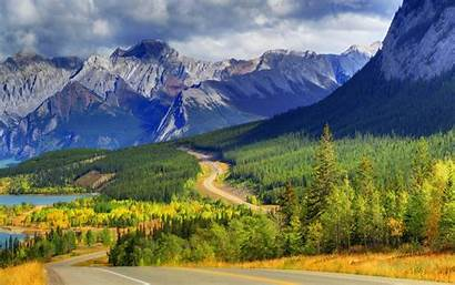 Canada Nature Road Forest Mountain Lake Landscape