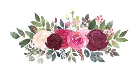 burgundy  blush rose bouquets watercolor clipart