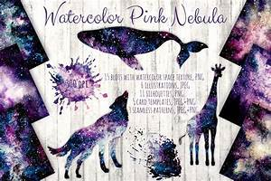 Watercolor Pink Nebula Collection by Salted Galaxy ...